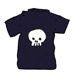 Comic cartoon skull tee vector