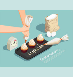 confectionery chef isometric concept vector image