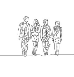 Continuous one line team businesspeople vector