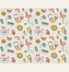 cute doodle summer collection pattern seamless vector image