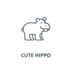 cute hippo line icon cute hippo outline vector image