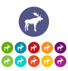 Deer icons set flat vector