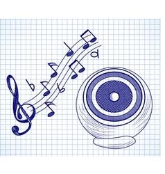 Doodle audio speaker vector image