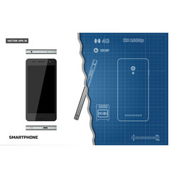 drawing of outline smartphone industrial blueprint vector image