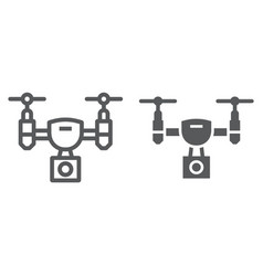 drone line and glyph icon electronic vector image