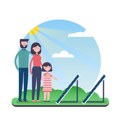 Eco friendly family with solar panels outdoor vector