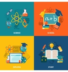 Education Flat Set vector image