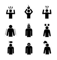 Emotional stress glyph icons set vector