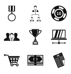 Employee of quarter icons set simple style vector