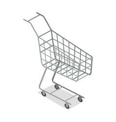 empty supermarket trolley isometric icon vector image