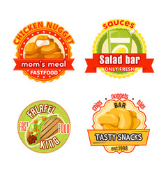 Fast food restaurant badge with snack and salad vector