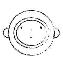 Figure nice astronaut face with equipment vector