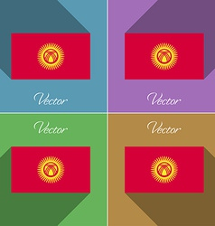 Flags Kyrgyzstan Set of colors flat design and vector image