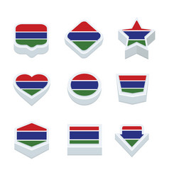 Gambia flags icons and button set nine styles vector