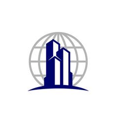 Globe real estate logo icon design vector