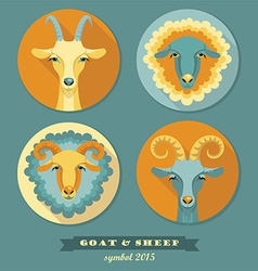 Goat and sheep symbol of 2015 vector