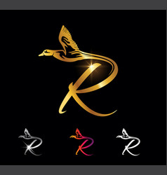 golden monogram duck initial set letter r vector image