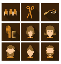 Graphic setisolated icons in flat contour thin vector