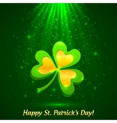 Green and golden clover in the magic light vector image