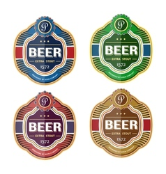 Green beer bottle label template vector