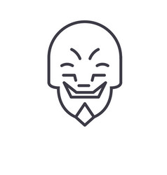 grimacing mask emoji concept line editable vector image