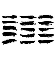 grunge brushes black paint strokes ink vector image