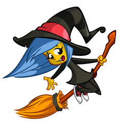 halloween cute witch flying on her broom vector image
