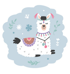 Hand drawn cartoon llama cute alpaca vector