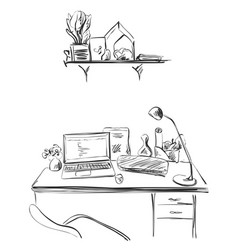 Hand drawn sketch of modern workspace with vector