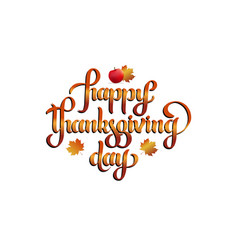 hand lettering - happy thanksgiving day vector image