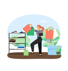 happy girl with bunch shopping bags in fashion vector image