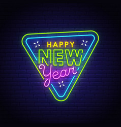 happy new year neon text bright signboard vector image