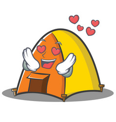 In love tent character cartoon style vector