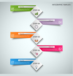 Info graphic with abstract cubes and color labels vector