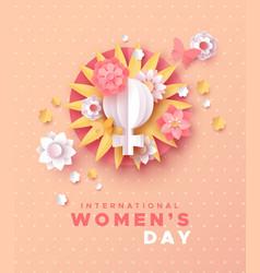 International women day pink papercut flower card vector
