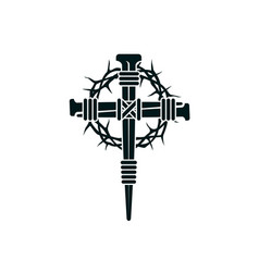 Jesus nail cross with thorn crown vector