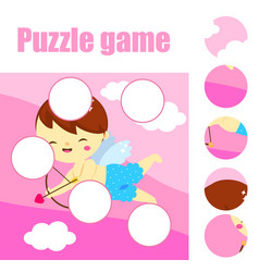 Jigsaw puzzle for toddlers find the missing part vector