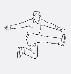 Jumping sport male action sketches vector