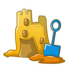 Kid sand castle icon cartoon style vector