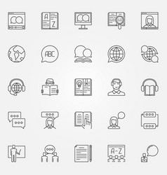 Language learning outline icons vector