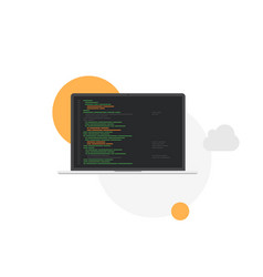 Laptop programming development system flat vector