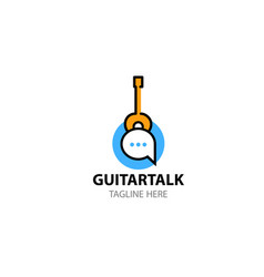 Logo template for social network about guitar vector