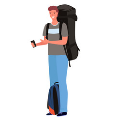 Male tourist with rucksack and backpack vector