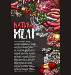 meat sausage chalkboard poster grill menu design vector image