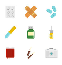 Medication icon set flat style vector