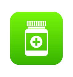 medicine bottle icon digital green vector image