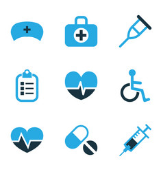 medicine icons colored set with stand medic cap vector image