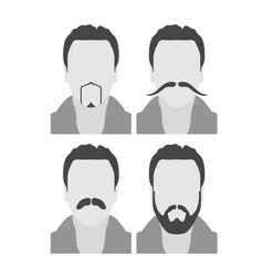 Men avatars with beard and moustache - face style vector