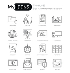 Modern thin line icons set of computer interface vector image