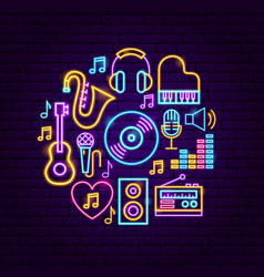 music sound neon concept vector image